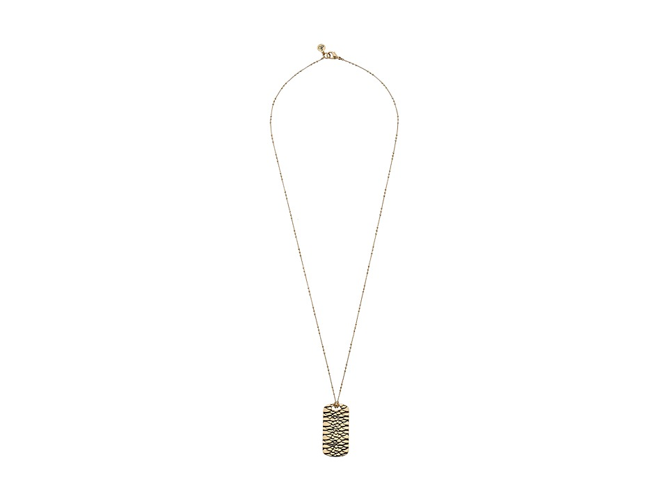 Sam Edelman - Snake Dogtag Pendant 30 Necklace (Gold) Necklace
