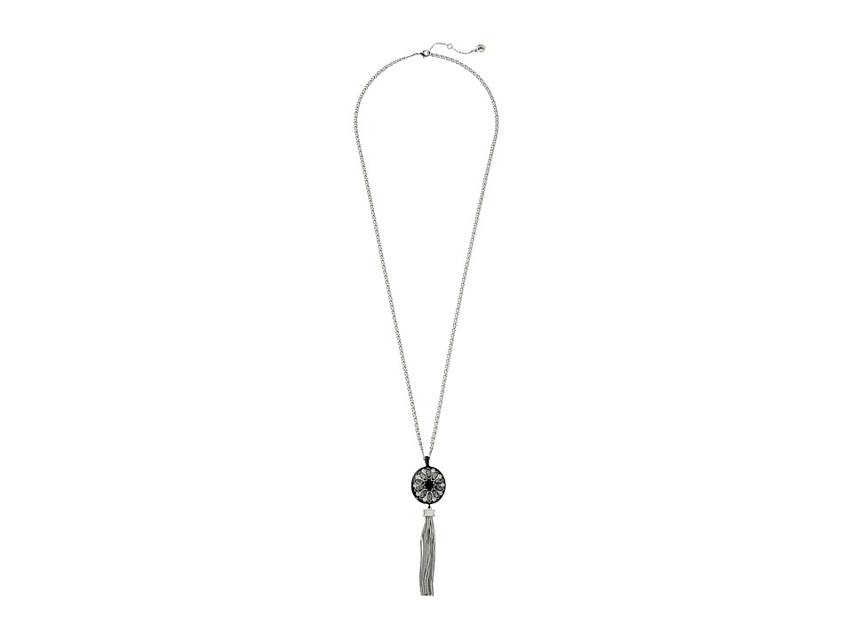 Sam Edelman - Crystal Tassel Pendant 30 Necklace (Rhodium/Black) Necklace