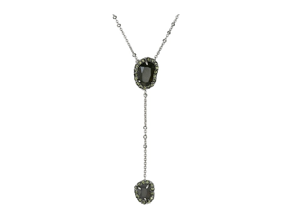 Sam Edelman - Pave Stone Y 20 Necklace (Rhodium/Grey) Necklace