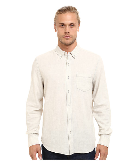 AG Adriano Goldschmied - Heather Twill Flannel Nibus Shirt (Powder White) Men's Long Sleeve Button Up