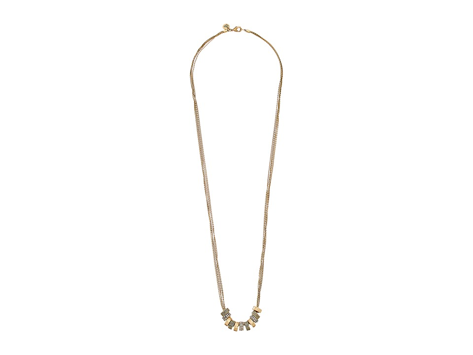 The Sak - Multi Pave Ring Necklace 34 (Gold) Necklace