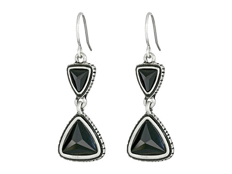 The Sak - Double Triangle Drop Earrings (Black/Silver) Earring