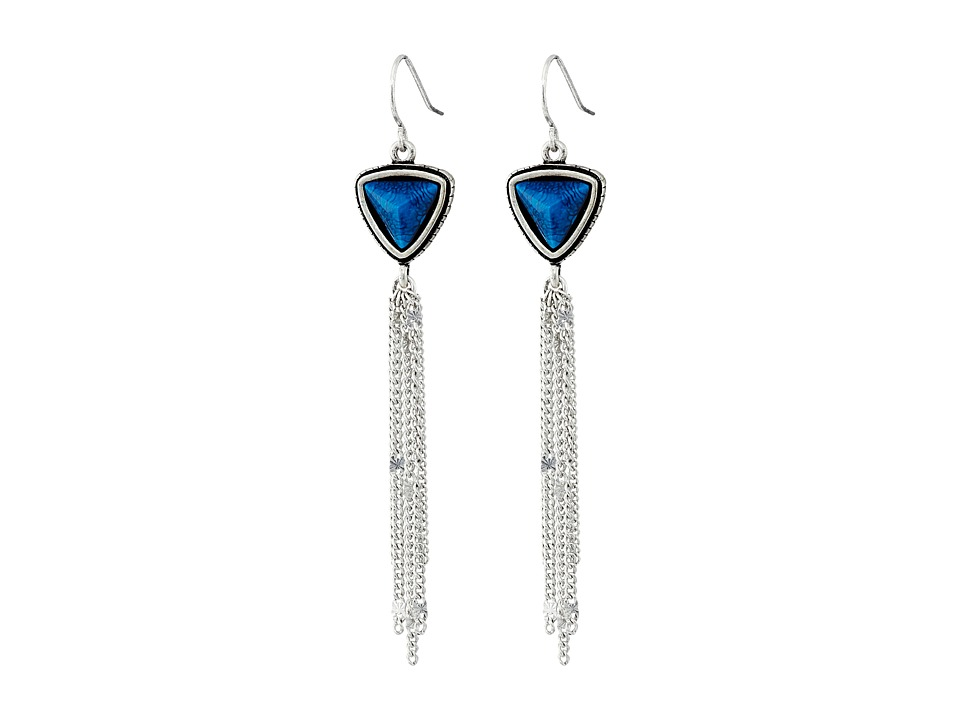 The Sak - Triangle Stone Tassel Earrings (Blue) Earring