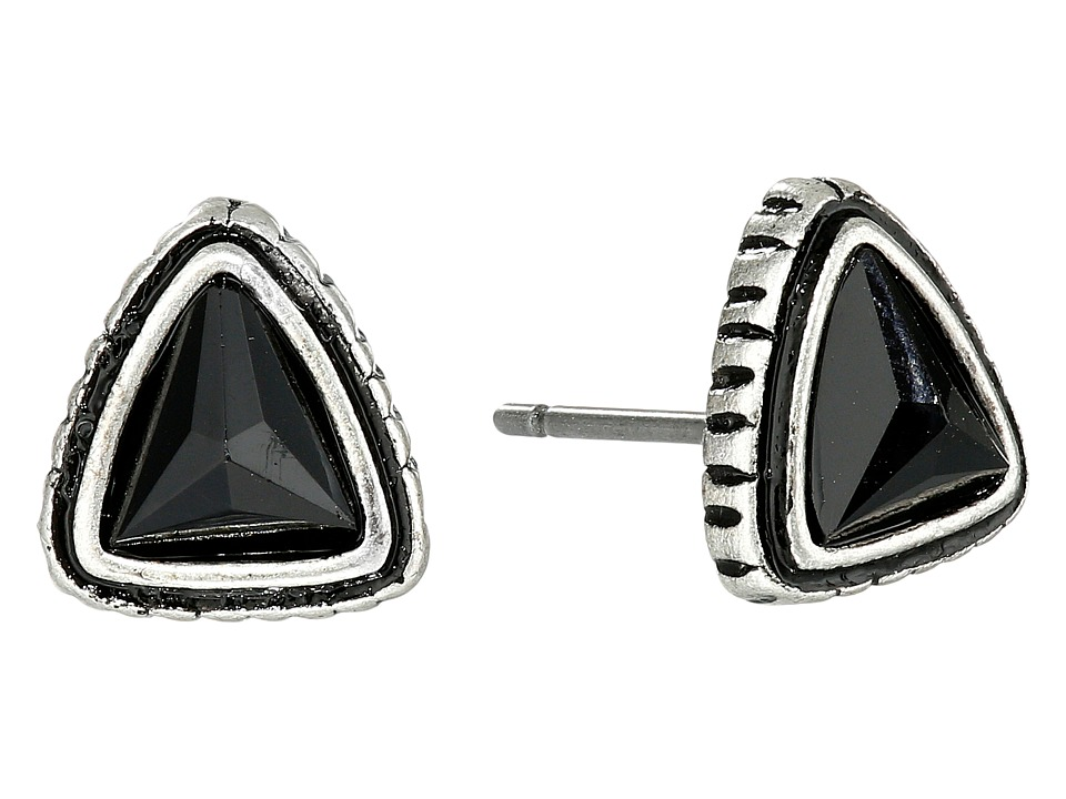 The Sak - Soft Triangle Stud Earrings (Black/Silver) Earring