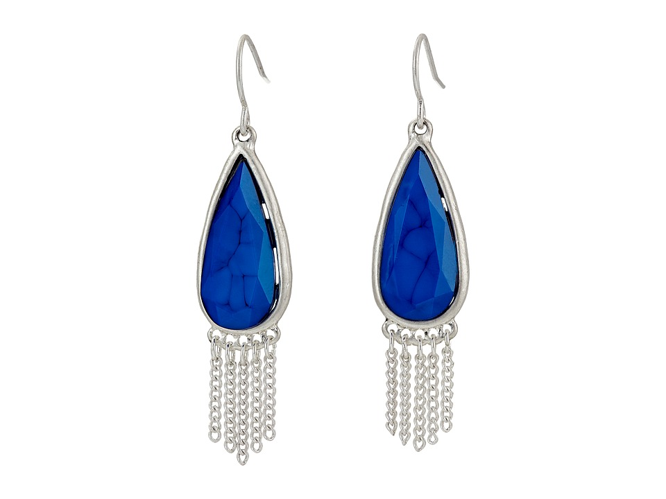 The Sak - Stone Fringe Teardrop Earrings (Blue) Earring