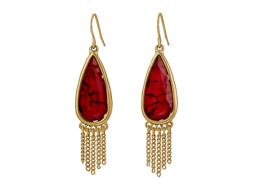 The Sak - Stone Fringe Teardrop Earrings (Ruby) Earring