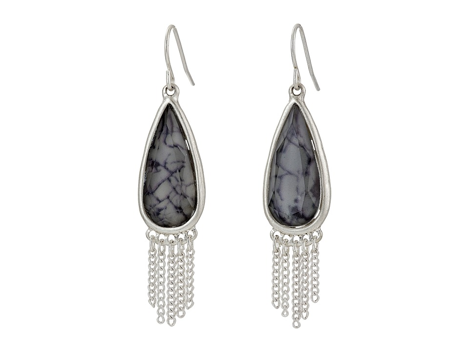 The Sak - Stone Fringe Teardrop Earrings (Grey) Earring
