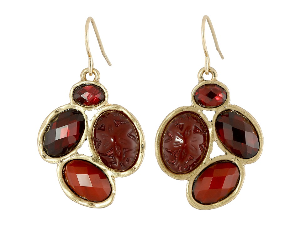 The Sak - Oval Cluster Drop Earrings (Ruby) Earring
