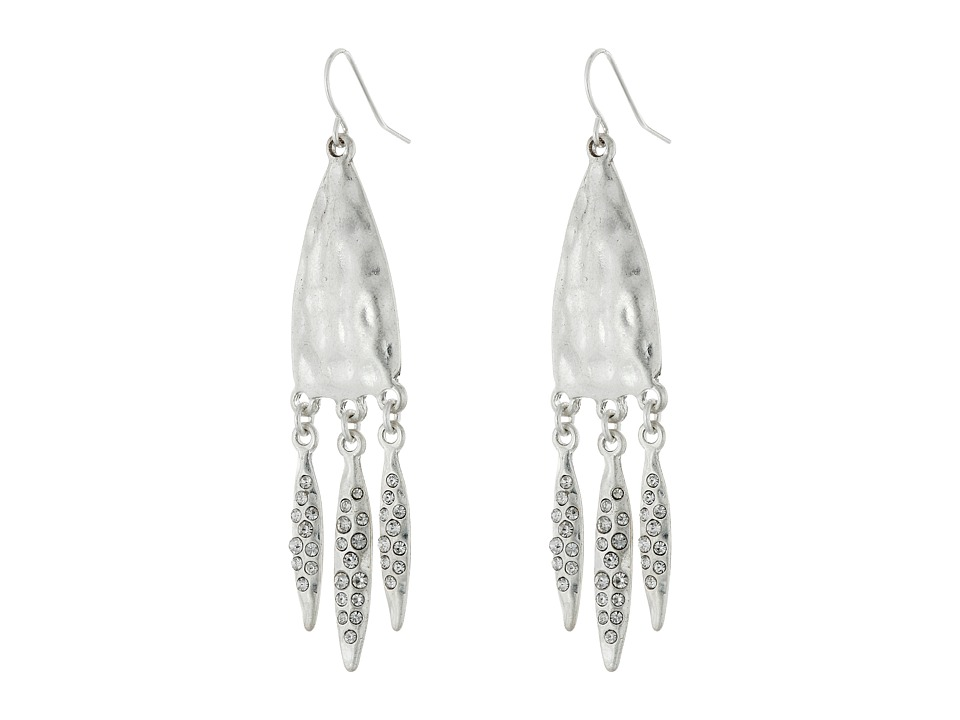The Sak - Pave 3 Leaf Drop Earrings (Silver) Earring