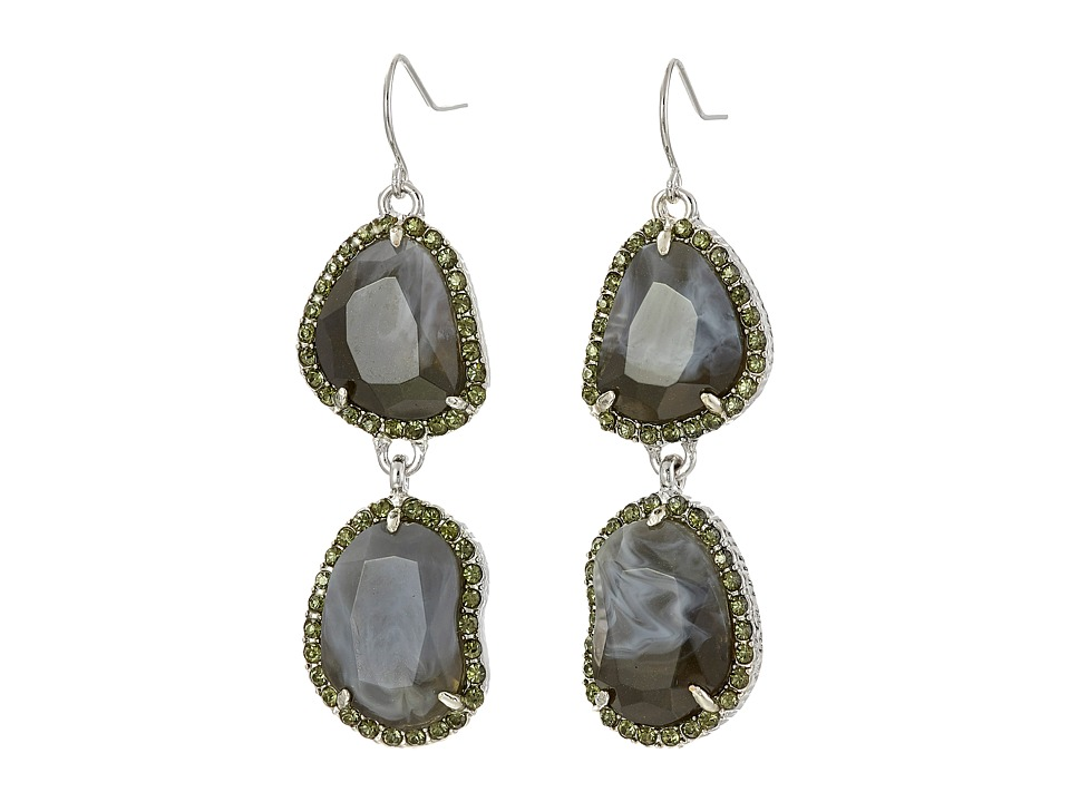 Sam Edelman - Pave Stone Double Drop Earrings (Rhodium/Grey) Earring