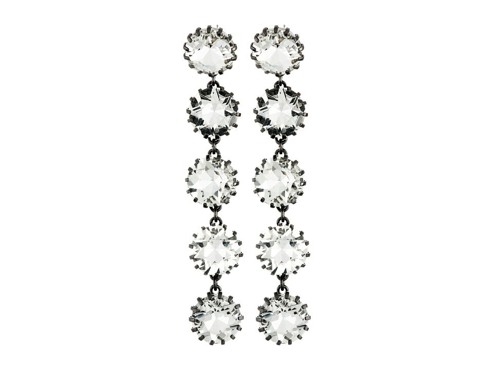 Sam Edelman - 5 Stone Linear Earrings (Hematite/Crystal) Earring
