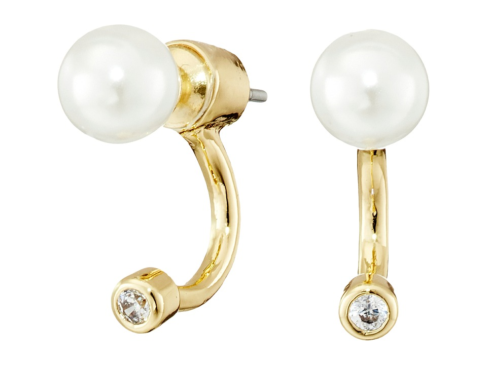 Sam Edelman - Ashley Floater Earrings (White Pearl/Gold) Earring