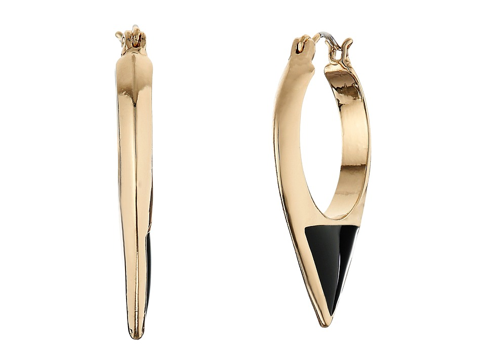 Sam Edelman - Enamel Inlay Hoop Earrings (Black/Gold) Earring