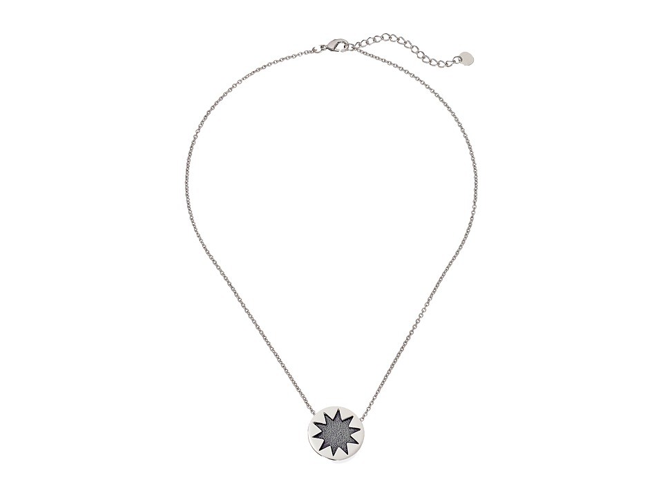 House of Harlow 1960 - Mini Sunburst Pendant Necklace (Silver/Grey) Necklace