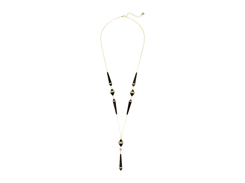 House of Harlow 1960 - Corona Crystal Y Necklace (Gold/Black) Necklace