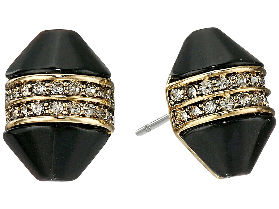 House of Harlow 1960 - Corona Crystal Stud Earrings (Gold/Black) Earring