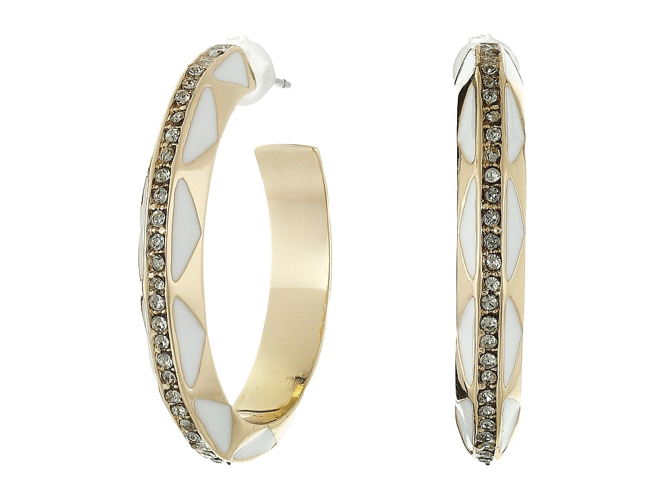 House of Harlow 1960 - Spectrum Hoop Earrings (Gold/White) Earring