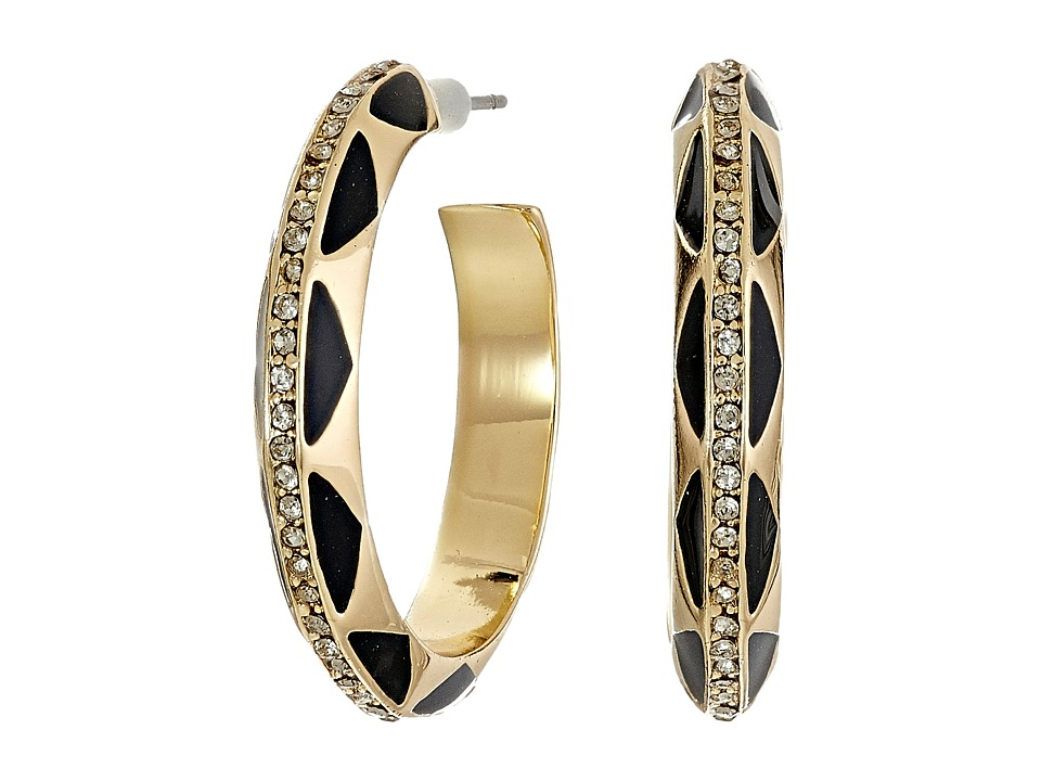 House of Harlow 1960 - Spectrum Hoop Earrings (Gold/Black) Earring