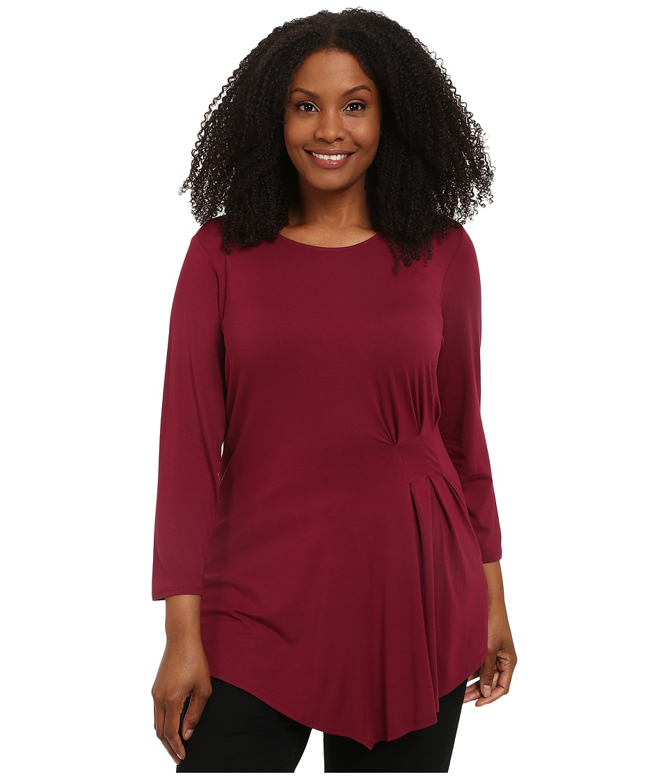 Vince Camuto Plus - Plus Size 3/4 Sleeve Side Ruched Top (Merlot) Women's Long Sleeve Pullover