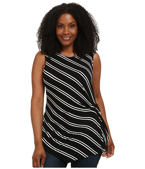 Vince Camuto Plus - Plus Size Decker Stripe Side Ruched Top (Rich Black) Women's Sleeveless