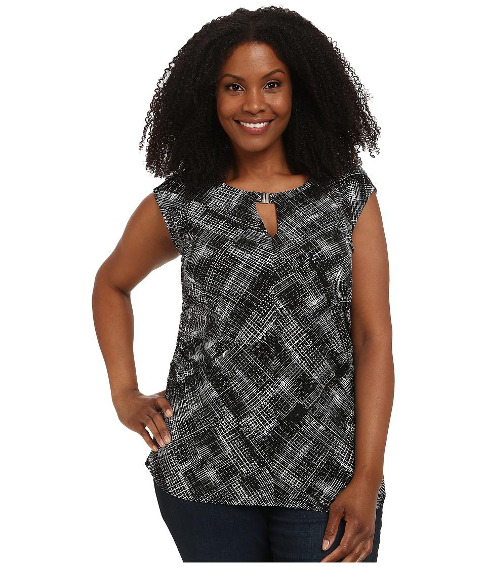 Vince Camuto Plus - Plus Size Cap Sleeve Lunar Keyhole Top w/ Hardware (Rich Black) Women's Short Sleeve Pullover plus size,  plus size fashion plus size appare
