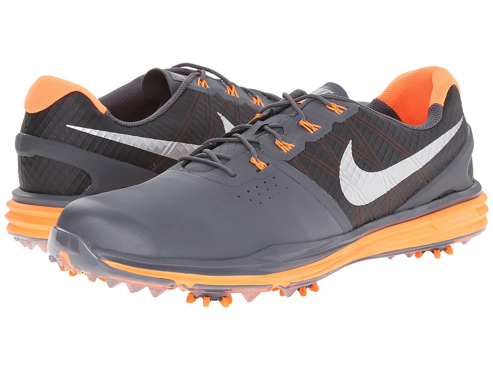 Nike Golf - Lunar Control 3 (Dark Grey/Total Orange/Metallic Silver) Men's Golf Shoes