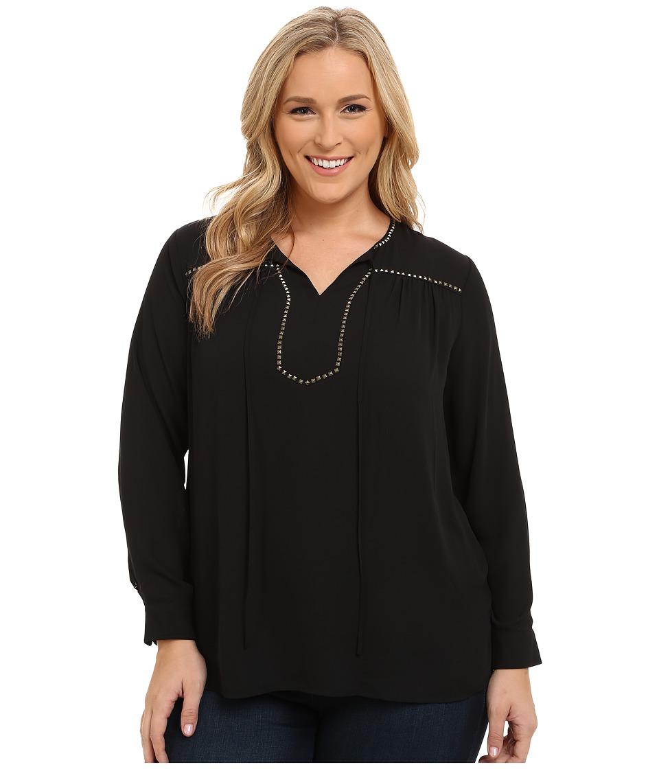 Vince Camuto Specialty Size - Plus Size Tie Neck Blouse w/ Heat Set Embellishment (Rich Black) Women's Blouse plus size,  plus size fashion plus size appare