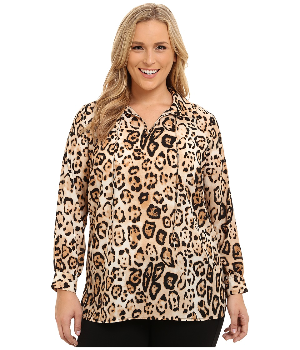 Vince Camuto Specialty Size - Plus Size Animal Estate Tie Neck Blouse (Rich Black) Women's Blouse
