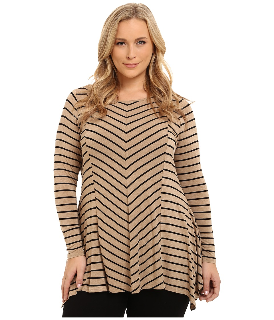 Vince Camuto Plus - Plus Size Pine Stripe Asymmetrical Hem Top (Tan Heather) Women
