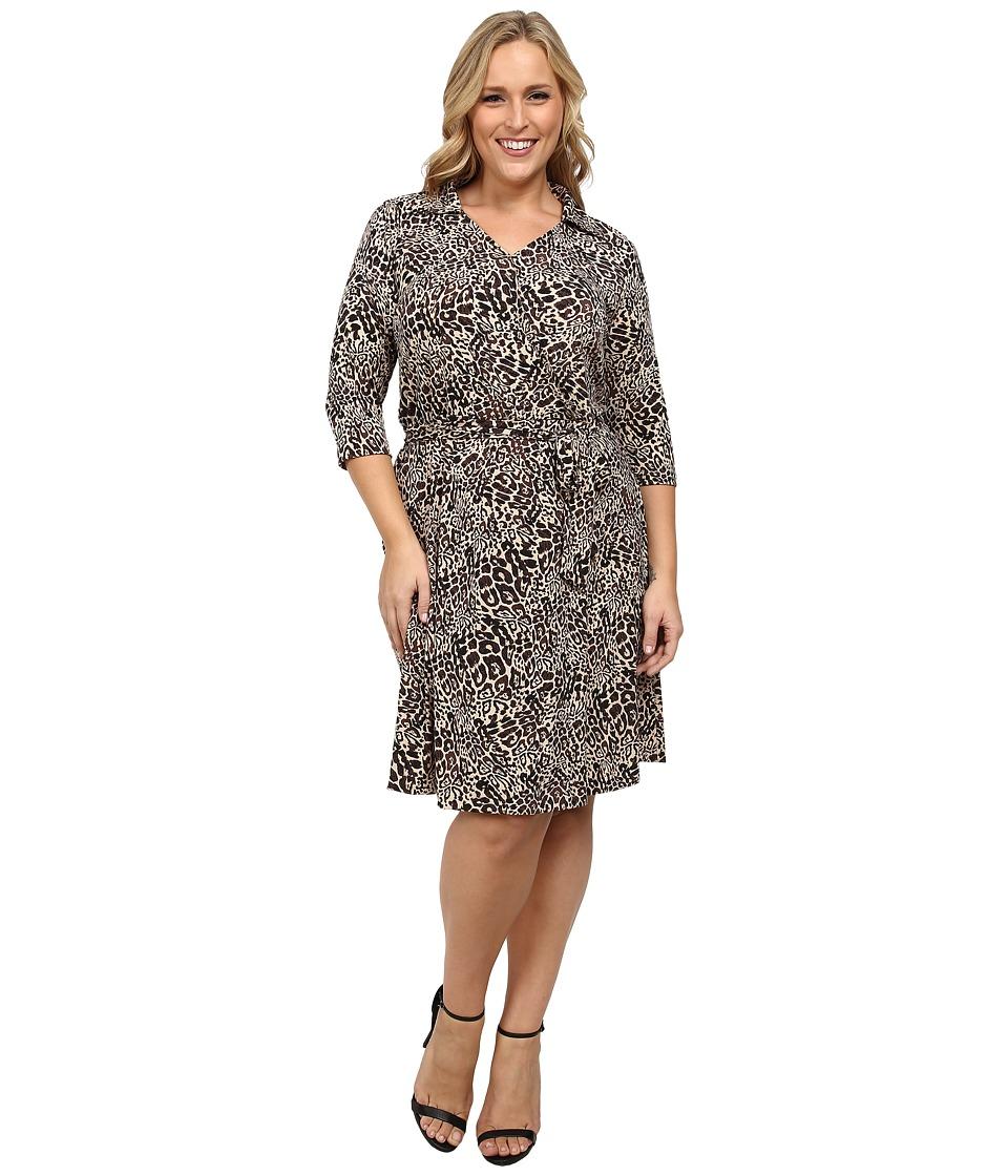 Vince Camuto Plus - Plus Size 3/4 Sleeve Faux Wrap Dress (Palomino) Women