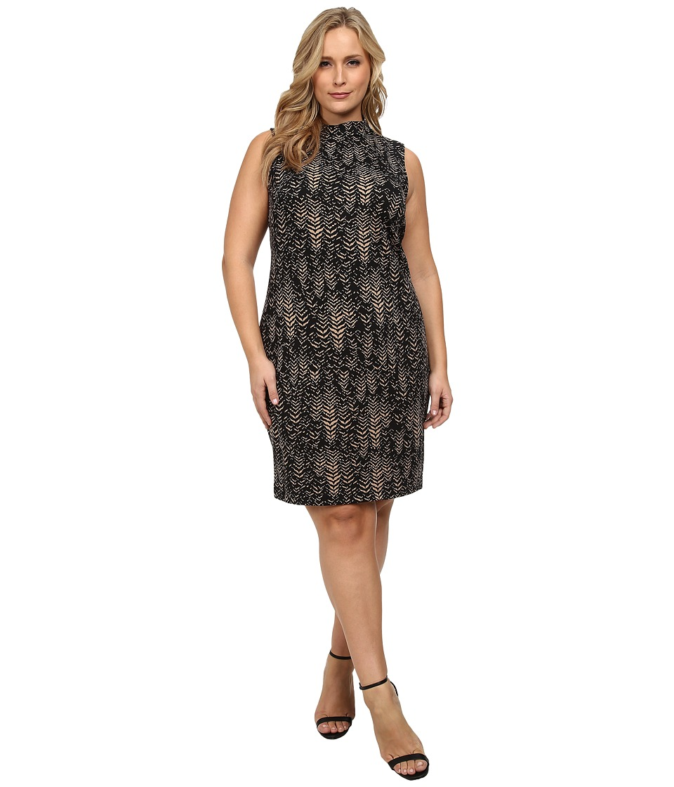 Vince Camuto Plus - Plus Size Herringbone Mock Neck Scuba Dress (Palomino) Women's Dress