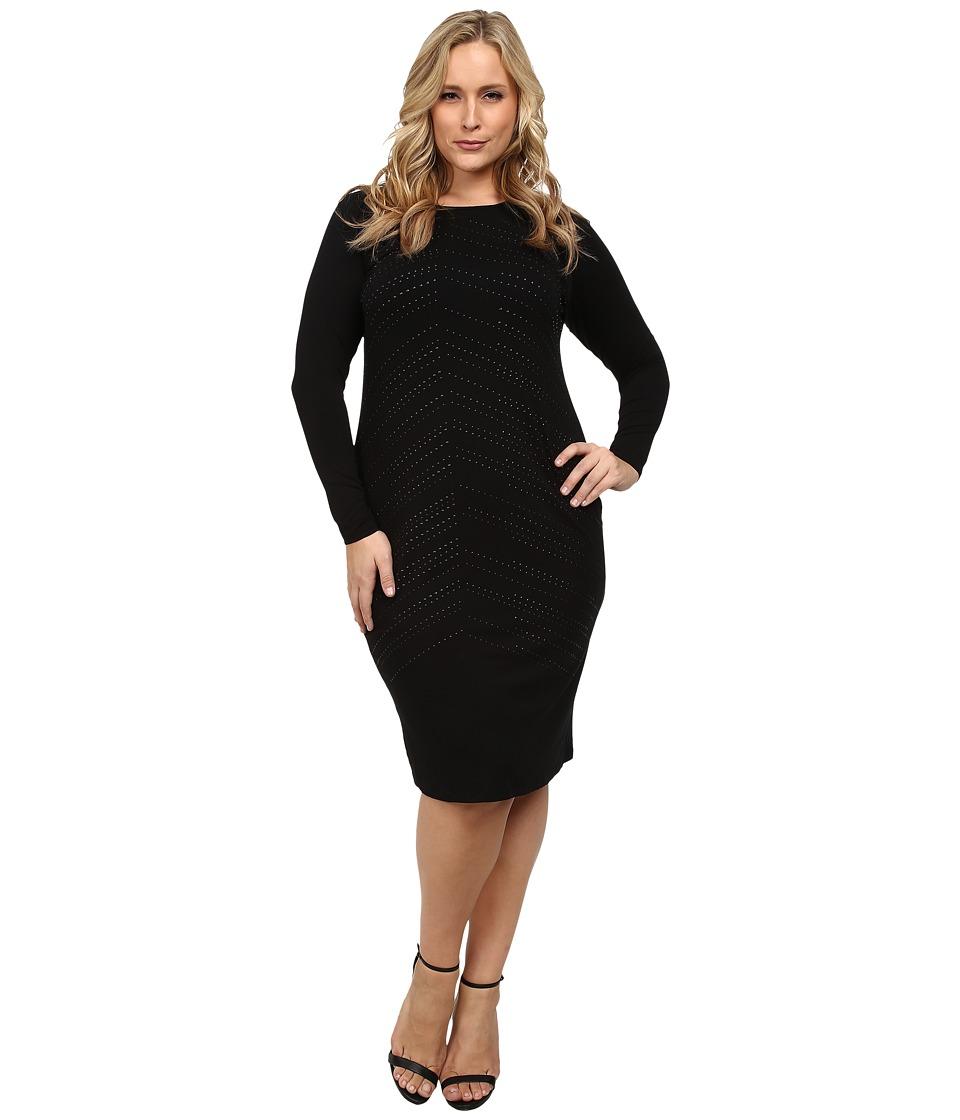 Vince Camuto Plus - Plus Size Midi Dress w/ All Over Heat Set Embellishment (Rich Black) Women