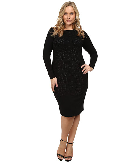 Vince Camuto Plus - Plus Size Midi Dress w/ All Over Heat Set Embellishment (Rich Black) Women