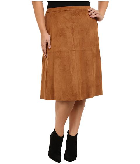 Vince Camuto Plus - Plus Size Faux Suede Midi Skirt (Cedar) Women