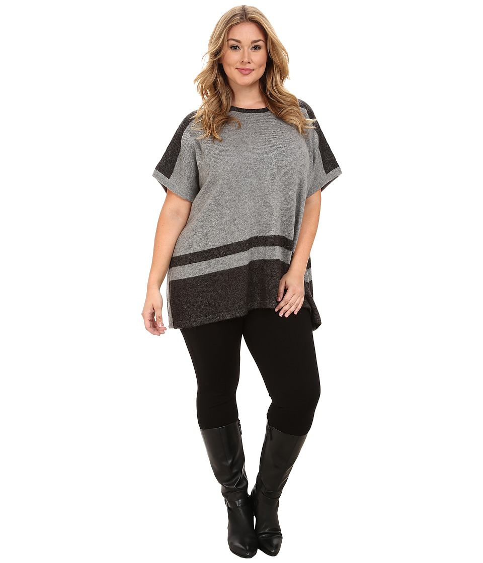 Vince Camuto Plus - Plus Size Engineered Stripe Sweater Poncho (Steel Heather) Women's Clothing