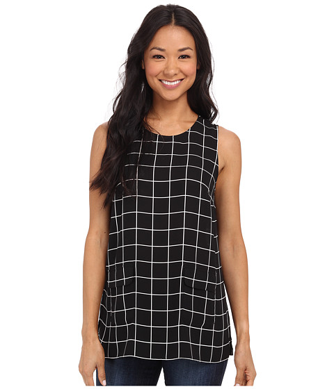 Vince Camuto - Simple Windowpane Front Pocket Blouse (Rich Black) Women