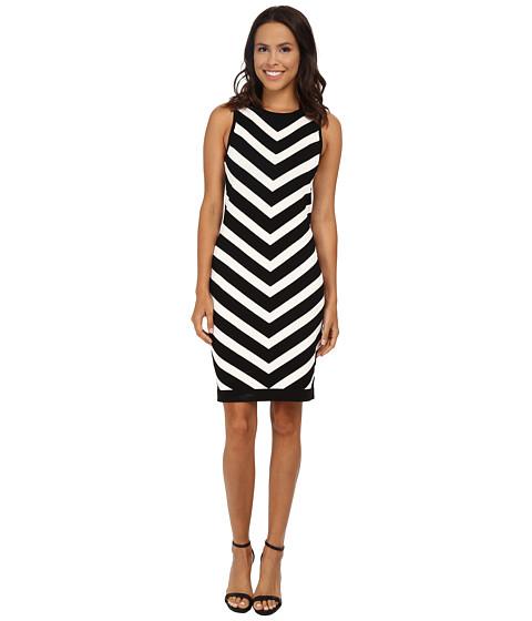 Vince Camuto - Chevron Stripe Sweater Dress (Rich Black) Women's Dress