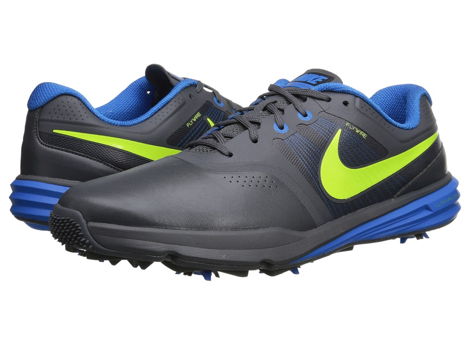 Nike Golf - Lunar Command (Dark Grey/Photo Blue/Volt) Men's Golf Shoes