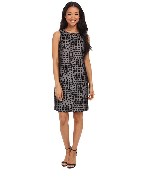 Vince Camuto - Satin Boxes Shift Dress (Rich Black) Women's Dress
