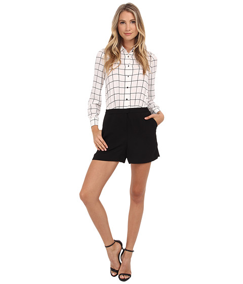 Vince Camuto - Windowpane Romper w/ Solid Crepe Shorts (New Ivory) Women's Jumpsuit & Rompers One Piece