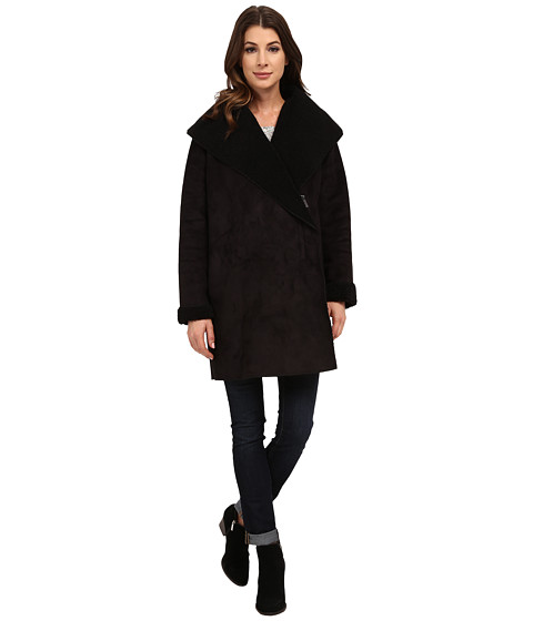French Connection - Cocoon Shearling Zip Front Coat (Black) Women's Coat
