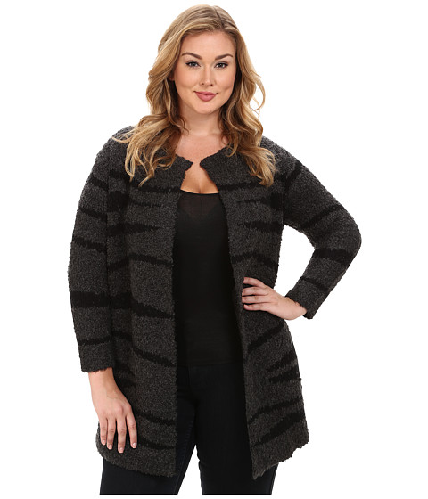 Vince Camuto Plus - Plus Size Zebra Intarsia Cardigan (Medium Heather Grey) Women