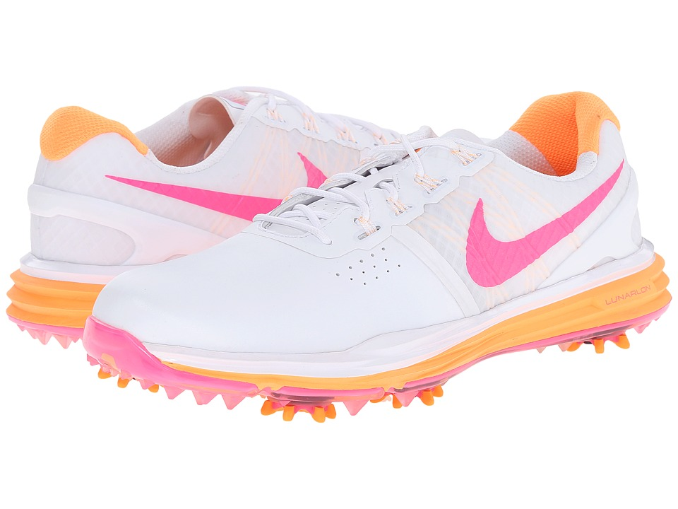 Nike Golf - Lunar Control (White/Bright Citrus/Pink Pow) Women's Golf Shoes