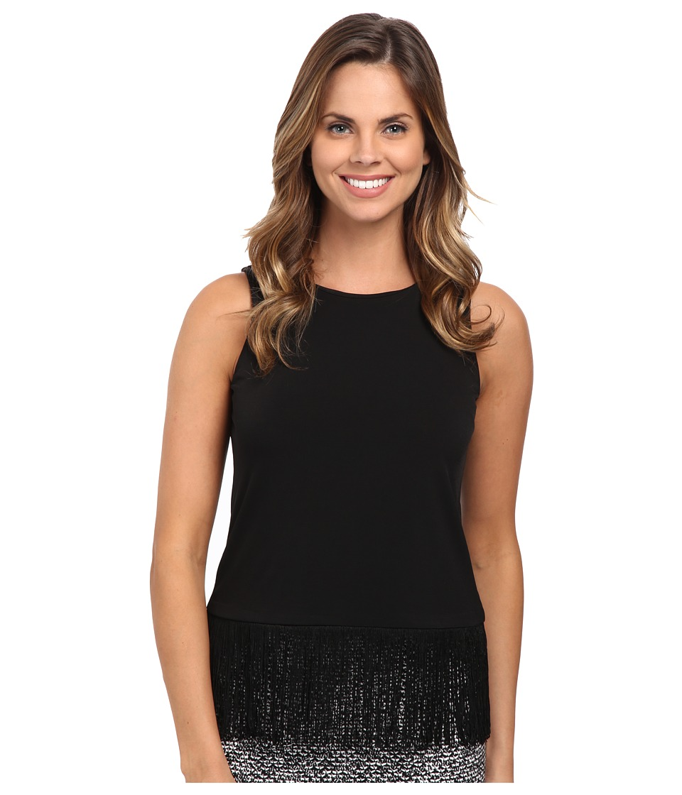 MICHAEL Michael Kors - Solid Matte Jersey Fringe Top (Black) Women's Sleeveless