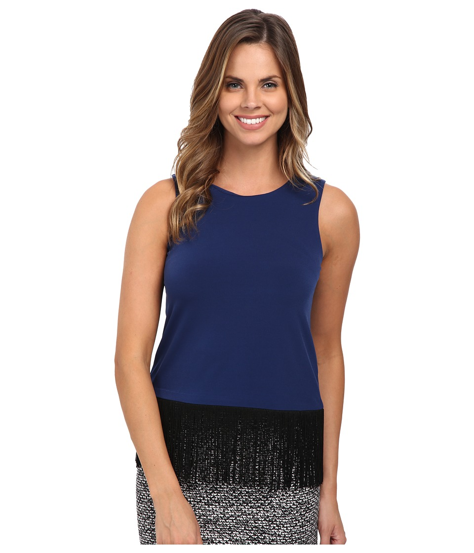 MICHAEL Michael Kors - Solid Matte Jersey Fringe Top (Sapphire) Women's Sleeveless