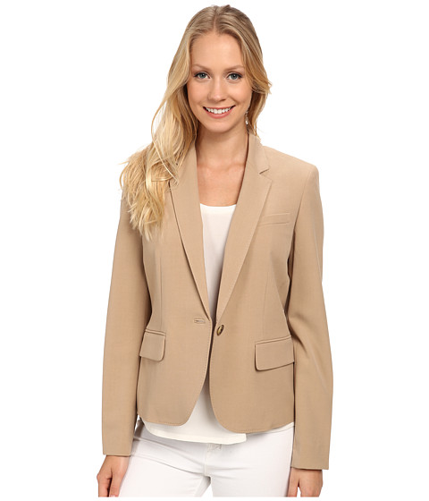 Anne Klein - One Button Peak Lapel Jacket (Tan) Women