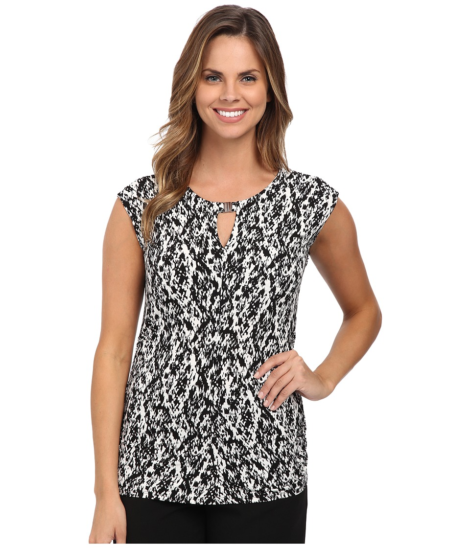 Vince Camuto - Cap Sleeve Graphic Keyhole Top w/ Hardware (New Ivory) Women's Blouse