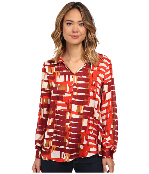 Vince Camuto - Graphic Steps Tie Neck Blouse (Wine) Women's Blouse