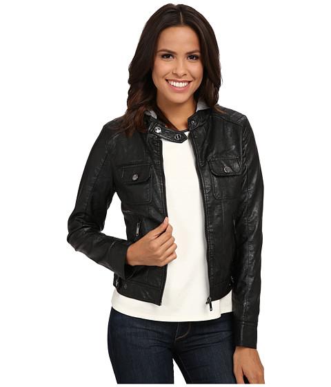 dollhouse - Four-Pocket Zip Jacket w/ Detachable Fleece Hood (Black) Women's Coat