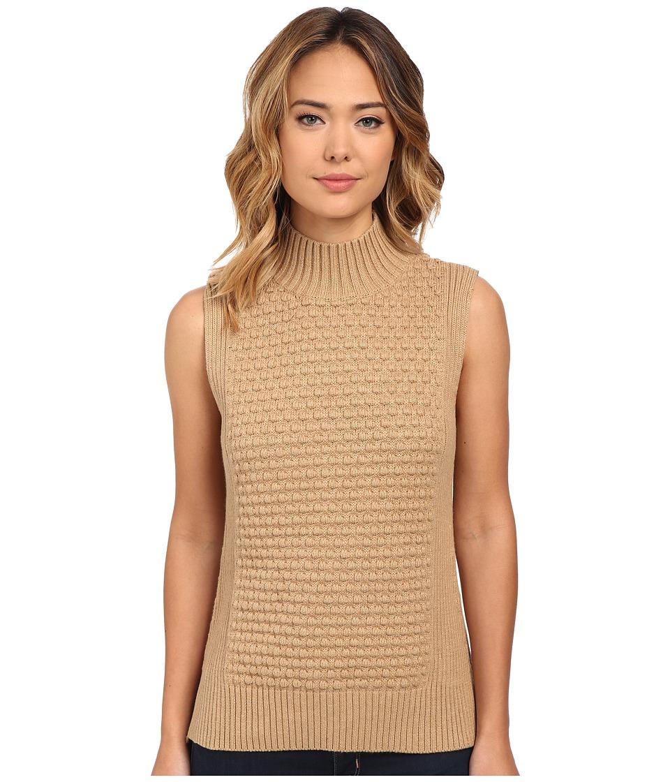 Vince Camuto - Mock Neck Bobble Stitch Sweater (Tan Heather) Women